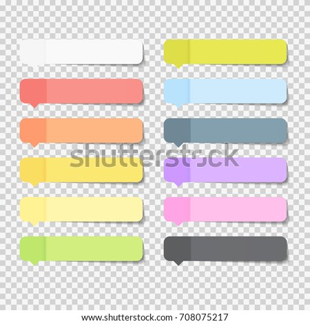 Sticky Office Paper Sheets Notes Pack Collection Set with Shadow Isolated on Transparent Background  Illustration