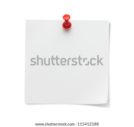 Sticky paper With Push Pin - stock photo