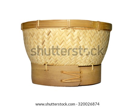 Sticky rice steamer basket isolated on white background