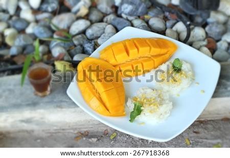 sticky rice with coconut milk mix and ripe mango. - stock photo