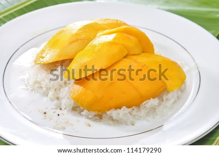 Sticky Rice with Mango - stock photo