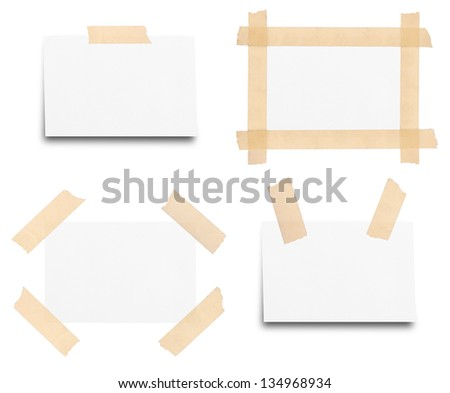 Sticky tape on note paper isolated on white background - stock photo