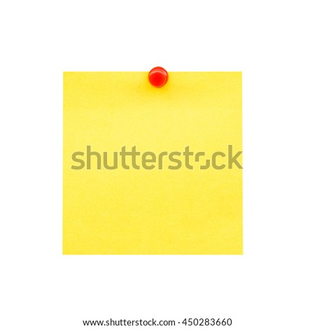 Sticky yellow blank note and pin on isolated with clipping path. - stock photo