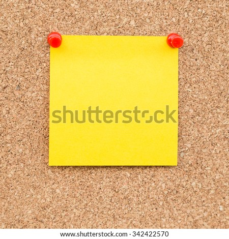 Sticky yellow blank note with space for text. - stock photo