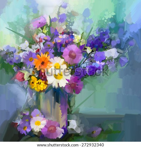Still life a bouquet of flowers. Oil painting daisy flowers in vase. Hand Painted floral in soft color and blurred  style green color background - stock photo
