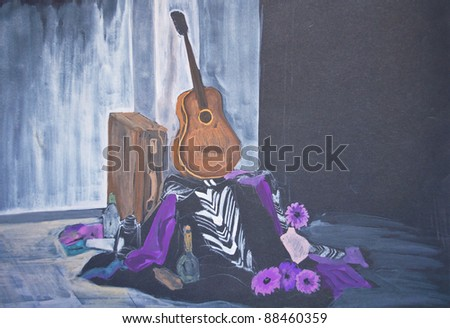 Still life abstract painting - stock photo
