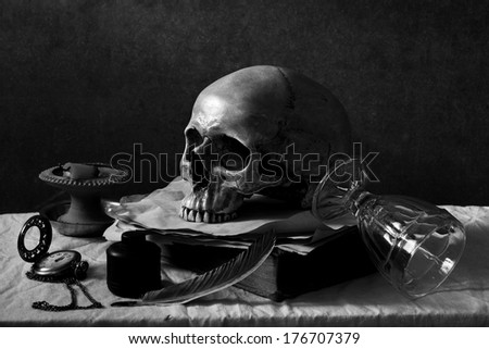 Still life art photography on human skull black and white version with film grain effect