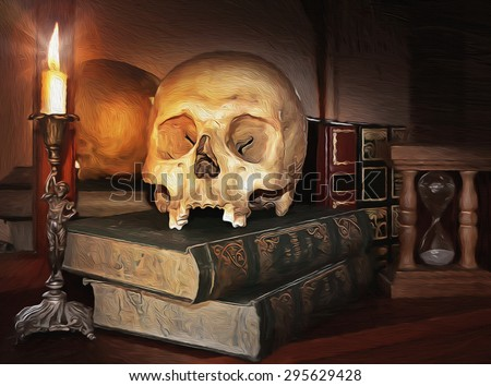 Still life art photography on human skull skeleton. Digital art stylised like oil painting