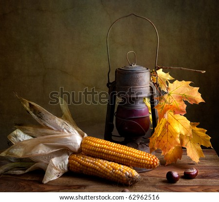 Still Life Autumn concept image with corn and maple leafs