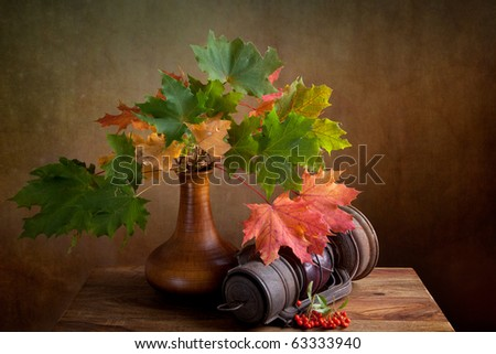 Still Life Autumn concept image with maple leafs and berries
