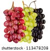 still life  black, green, red  bunch of grapes close up, on white background, isolated - stock photo