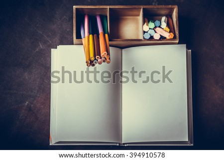 Still life. Book pencil - stock photo