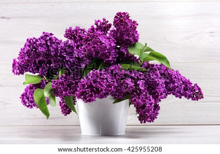 Still life. Bouquet purple lilacs in white a vase on a  wooden table. - stock photo