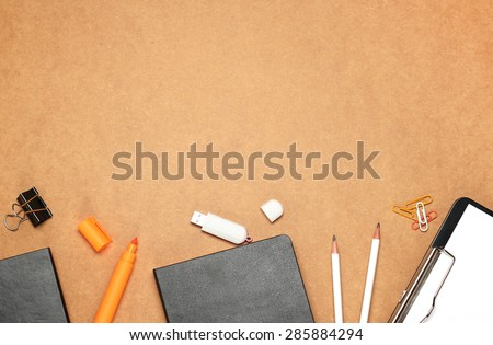 Still life, business, education concept. Office supplies, notepad, diary, marker, USB flash drive and pencils on a table. Selective focus, copy space background, top view - stock photo