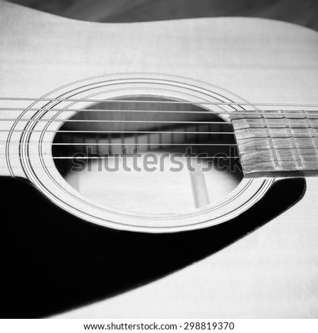 still life close up part of guitar black and white color tone style