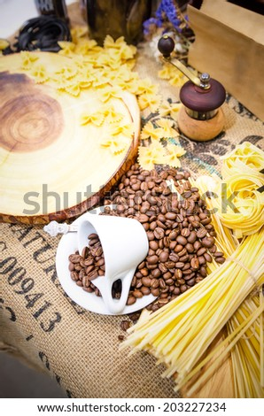 Still life coffee , Still life vintage coffee , Coffee and Line of spaghetti , Still life coffee shallow depth - stock photo