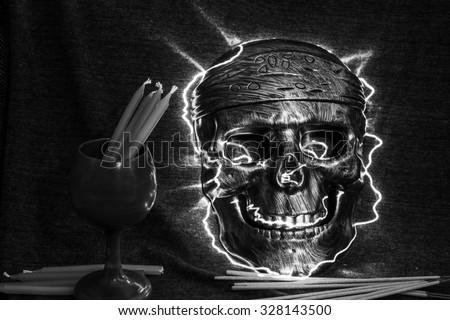 still life concept human skull mask on dark background, Halloween background - stock photo