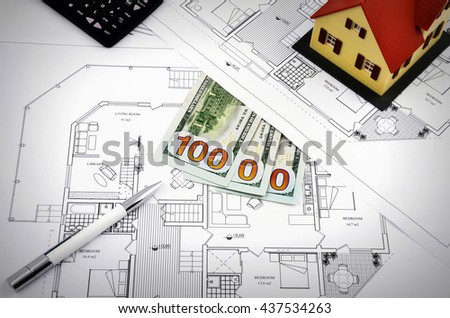still life dollar money with Architectural project real estate concept