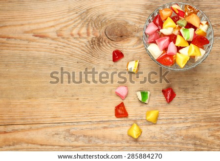 Still life, food and drink, holidays concept. Colorful sweet candies. Copy space background, selective focus, top view. Traditional candies for Seker Bayram holiday - stock photo