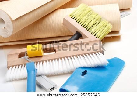 Still-life from various wallpapering tools. Home renovation. - stock photo