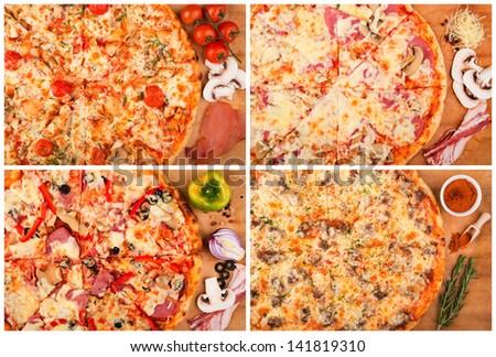 Still life. Homemade pizza and ingredients on the table. - stock photo