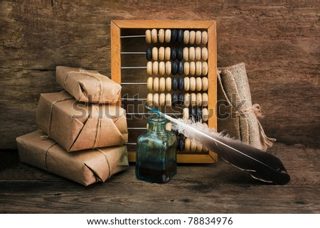 Still Life in a warehouse with  abacus in old-style