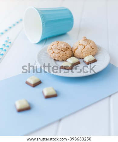 still life in white-blue colors - stock photo