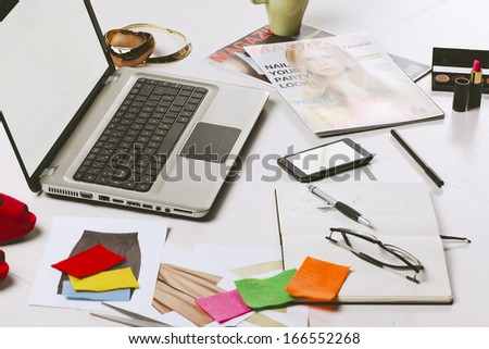 Still life of a fashion creative space./  A essentials objects in a fashion blogger  - stock photo