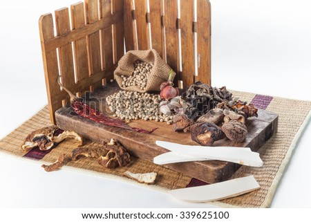 Still life of asia seasoning on white - hot spicy seasoning with Chinese herb - stock photo