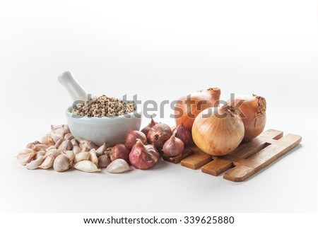 Still life of asia seasoning on white - Mixed seasoning for spicy cooking - stock photo