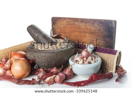 Still life of asia seasoning on white - set of thai seasoning - stock photo