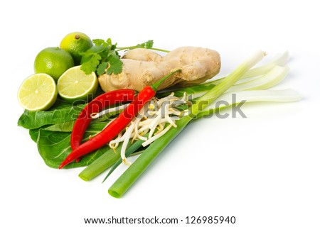 Still life of Asian ingredients and seasonings against white background