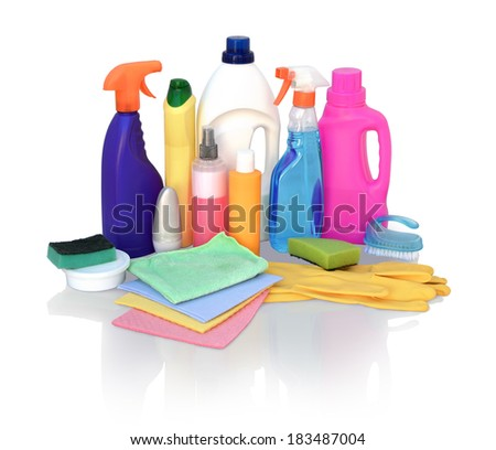 Still life of assortment of various bright means for cleaning isolated on white background. Cleaner bathroom, cleaner for glass, powder for metal products, concentrated air freshener, wipes - stock photo