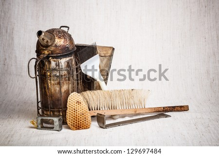 Still life of beekeeping equipment