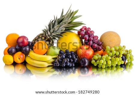 still life of big  heap multi-coloured fruits , on white background, isolated - stock photo