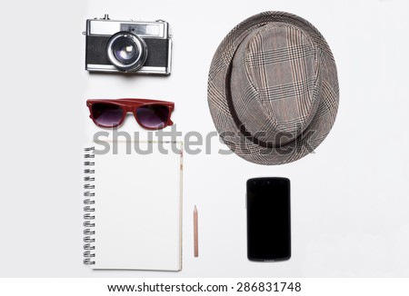 Still life of casual man. Hipster style on white background. - stock photo