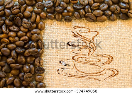 Still life of coffee cup of ground coffee on the background of a sacking and roasted coffee beans  - stock photo