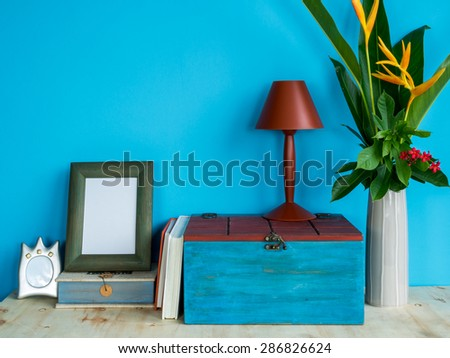 Still life of colorful modern interior design with flower vase - stock photo