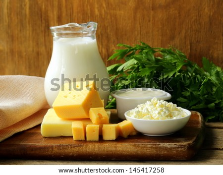 still life of dairy products (milk, sour cream, cottage cheese) - stock photo