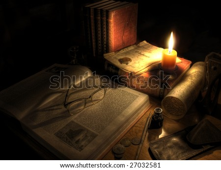 Still life of desktop with pen and ink, candle,map and sand glass. Antique setting. - stock photo