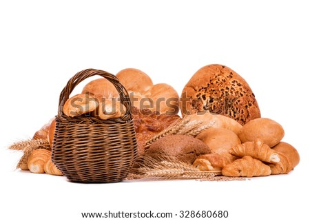 still life of different kinds of bread isolated on a white background, selective focus - stock photo