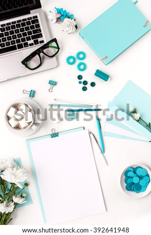 Still life of fashion woman,  blue objects on white - stock photo