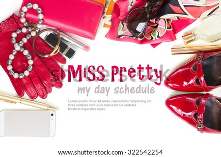 Still life of fashion woman, essentials fashion woman objects as a frame on white - stock photo