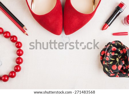 Still life of fashion woman. Feminine cosmetic background. Overhead of essentials fashion woman objects - stock photo