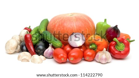 still life of fresh vegetables isolated on white background close-up - stock photo