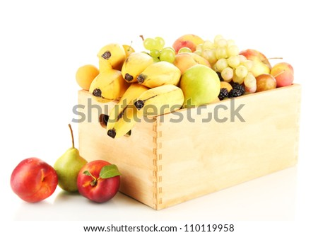 Still life of fruit in a box isolated on white - stock photo