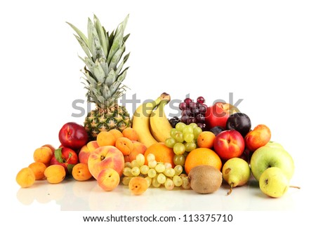 Still life of fruit isolated on white - stock photo