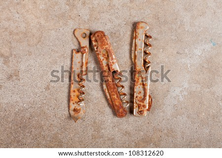 Still life of Letter of the Alphabet made from trash objects from Junk shop - stock photo