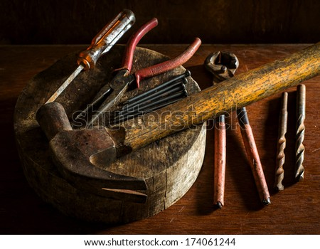 Still life of mechanic and carpentry tools  - stock photo