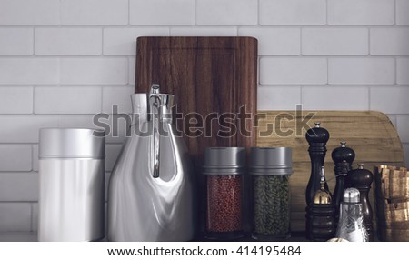 Still Life of Modern Kitchen Wares Arranged Neatly on Counter - Various Herbs and Spices in Variety of Containers in Kitchen with White Tile Backsplash Wall. 3d Rendering. - stock photo